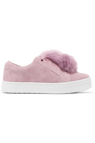 fur faux fur embellished sneakers suede pink shoes