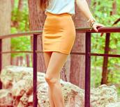 mini,bodycon,orange skirt,skirt