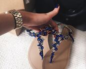 shoes,blue,sandals,flat sandals,blue sandals,rhinestones,jeweled sandals