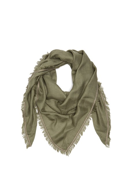 BRUNELLO CUCINELLI Embellished cashmere and silk-blend scarf in green