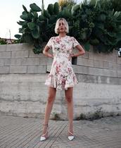 dress,mini dress,floral dress,pumps,ruffle dress,bracelets,white shoes
