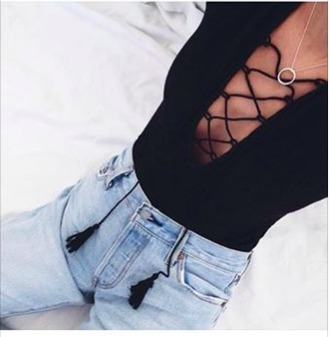 jeans light high skinny jeans shirt criss cross cleavage black tie summer ootd tie-front top aesthetic