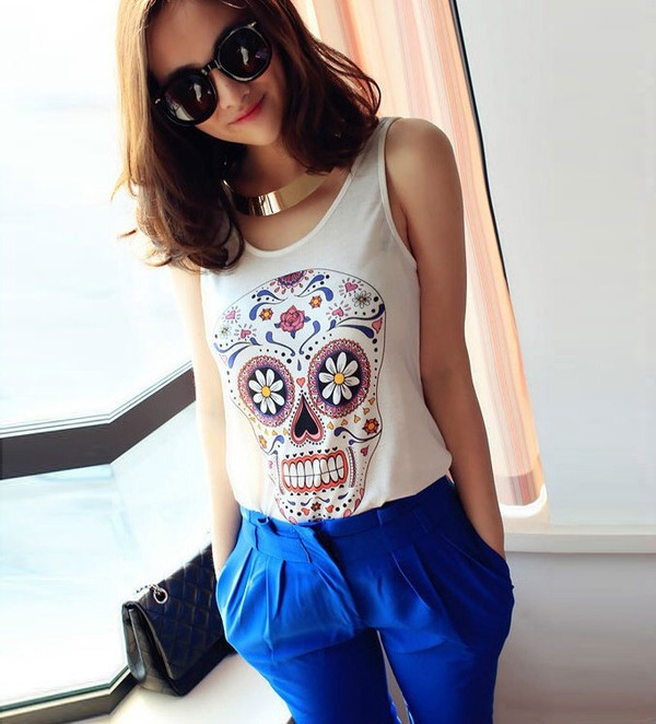 shirt t-shirt necklace skull tank top pants