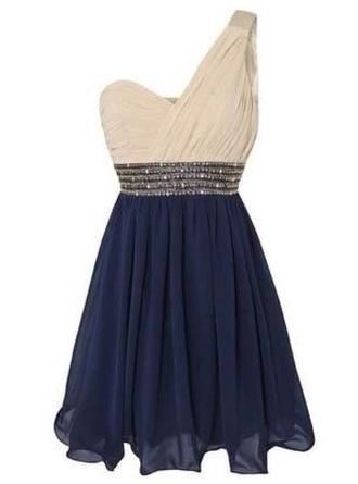 shorts dress chiffon one shoulder dress homecoming dress beading royal blue dress