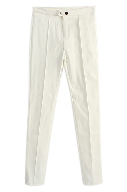 ROMWE | ROMWE Two Snap Fasteners Pocketed Skinny White Pants, The Latest Street Fashion