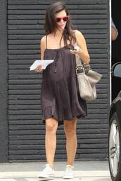 rachel bilson,dress,sunglasses,sneakers,bag,shoes,maternity