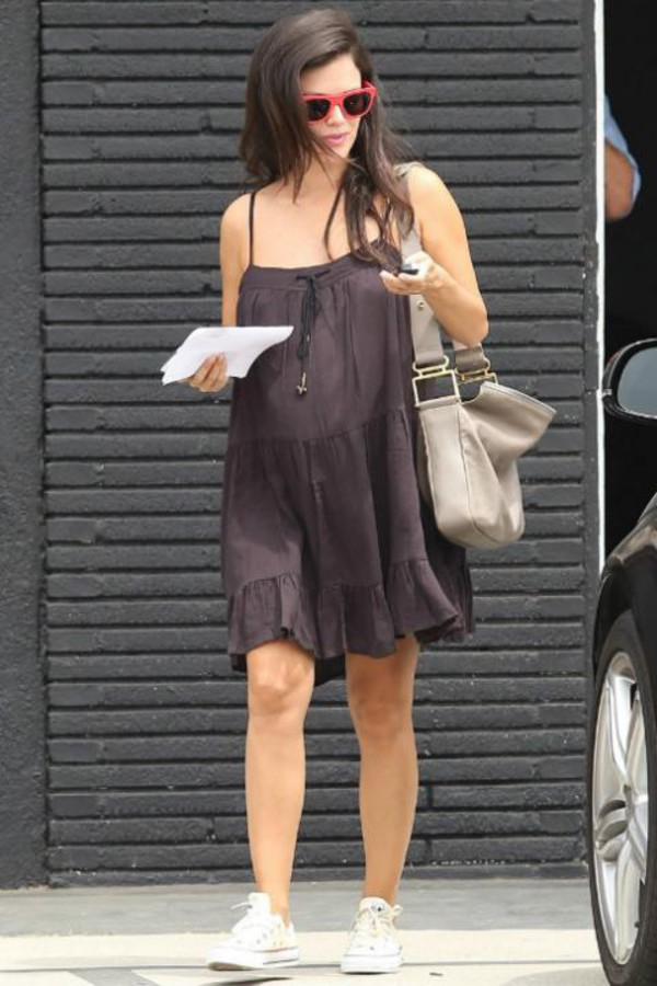 rachel bilson dress sunglasses sneakers bag shoes maternity