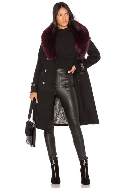 Soia & Kyo coat wool coat fur fox wool black