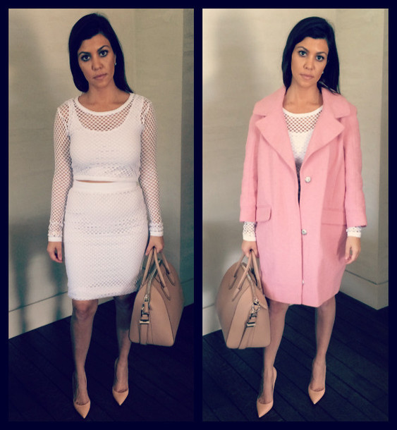 bag givenchy kourtney kardashian pink coat mesh