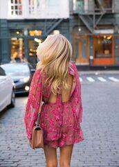 romper,pink romper,tumblr,open back,backless,long sleeve romper,long sleeves,bag,brown bag,floral,pink,floral romper,blonde hair,long hair