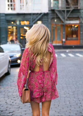 romper pink romper tumblr open back backless long sleeve romper long sleeves bag brown bag floral pink floral romper blonde hair long hair