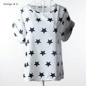 top,summer,topshop,white,stars,printed t-shirt,girl,girly,white top