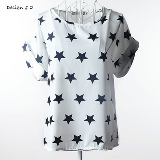 top summer topshop white stars printed t-shirt girl girly white top