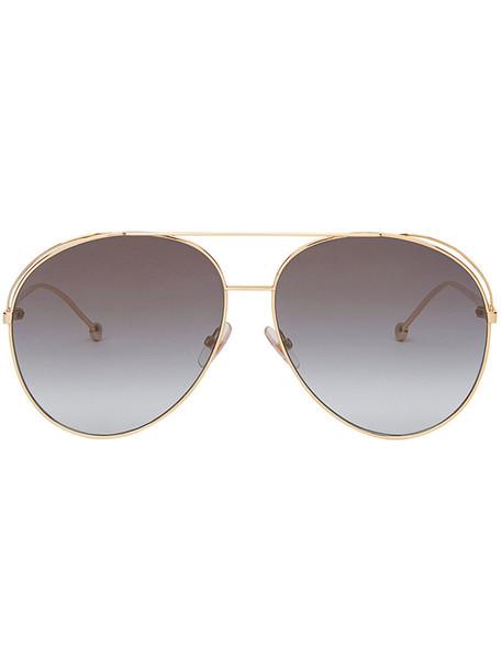 Fendi Eyewear metal women run sunglasses grey metallic
