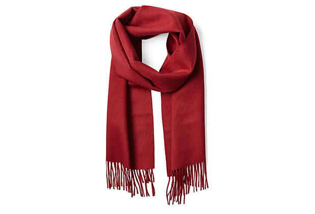 One Kings Lane - Natural Luxury - Alpaca Brushed Scarf, Burgundy