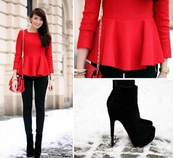 Nouveau 2013 chic, rouge. peplum chemisiers. femmes. vintage. tees, volants casual shirt 3/4 puffy manches
