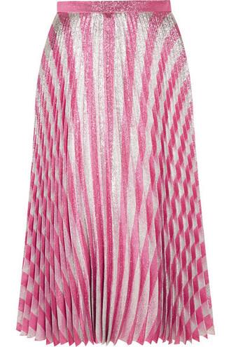 skirt midi skirt pleated metallic midi silk blush