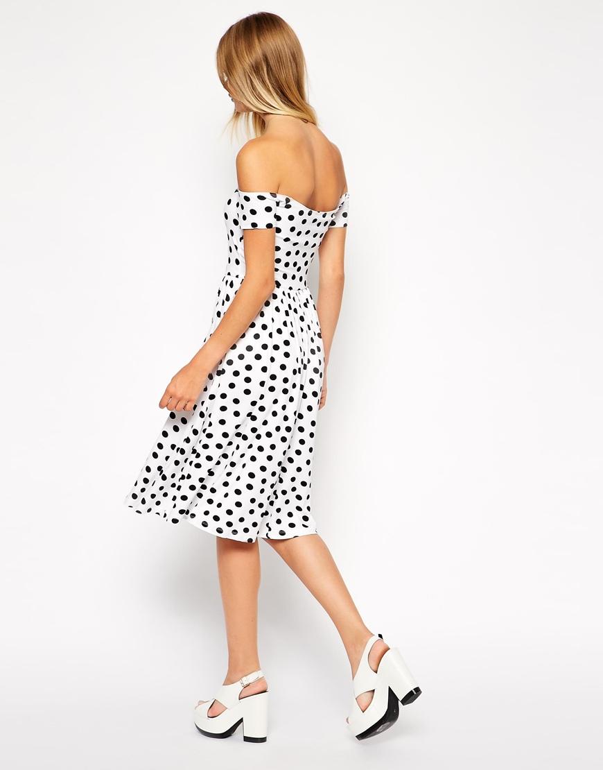 ASOS Bandeau Skater Dress in Spot Print at asos.com