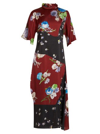 dress satin dress floral print satin burgundy