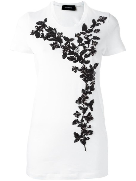 Dsquared2 t-shirt shirt t-shirt women plastic embellished white cotton top