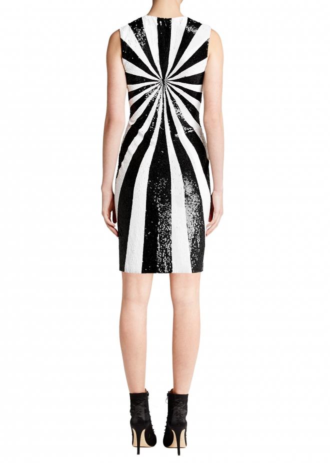Optical sequin evening dress