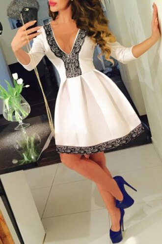dress lace trendy girly black and white long sleeves cute rose wholesale-ma