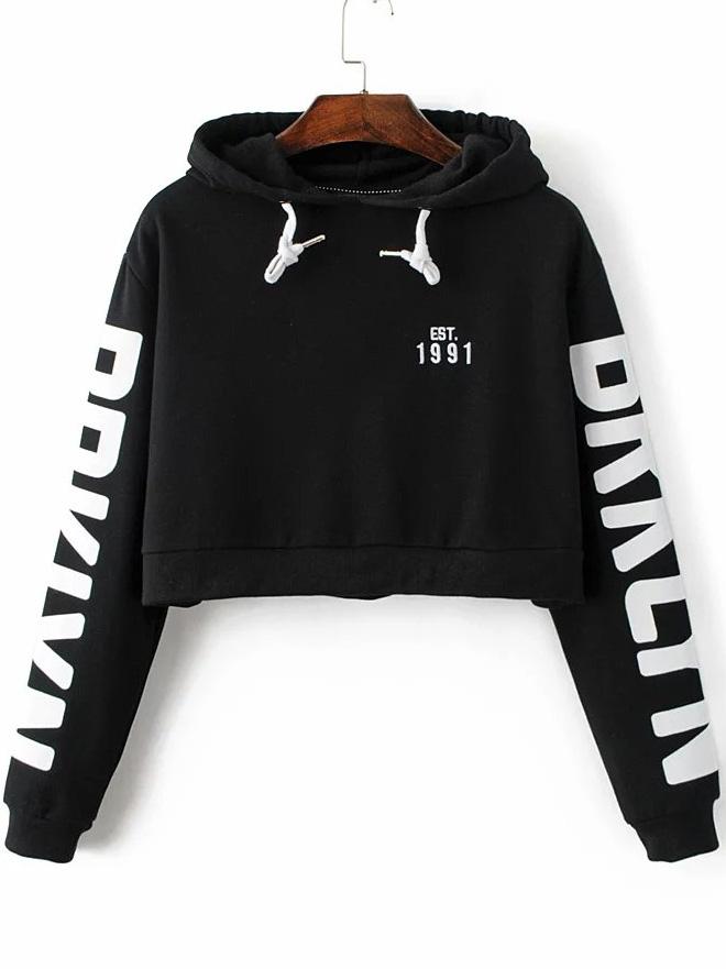 0c3622befef Black Letter Print Hooded Crop Sweatshirt -SheIn(Sheinside)