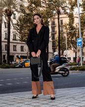 bag,handbag,shoulder bag,flare pants,pumps,blazer,black blazer,earrings