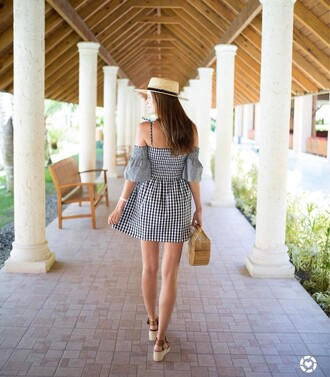 dress tumblr mini dress gingham off the shoulder off the shoulder dress three-quarter sleeves bell sleeves bell sleeve dress sandals wedges wedge sandals bag basket bag spring outfits gingham dresses