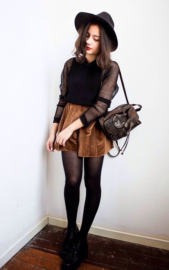 t-shirt brown leather backpack brown leather bag two straps small bag velvet skirt short skirt skater style skater skirt fishnet black long sleeve bag hat shoes blouse vintage