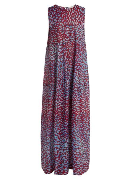 ON THE ISLAND dress animal cotton print burgundy