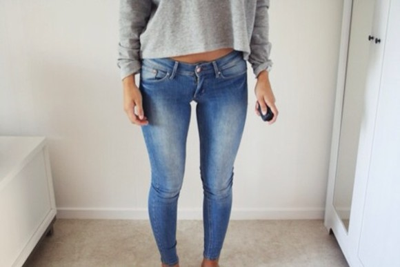 jeans skinny jeans light wash sweater pants low waisted pants shirt denim grey
