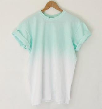 blouse blue ombrè white ombre shirt t-shirt