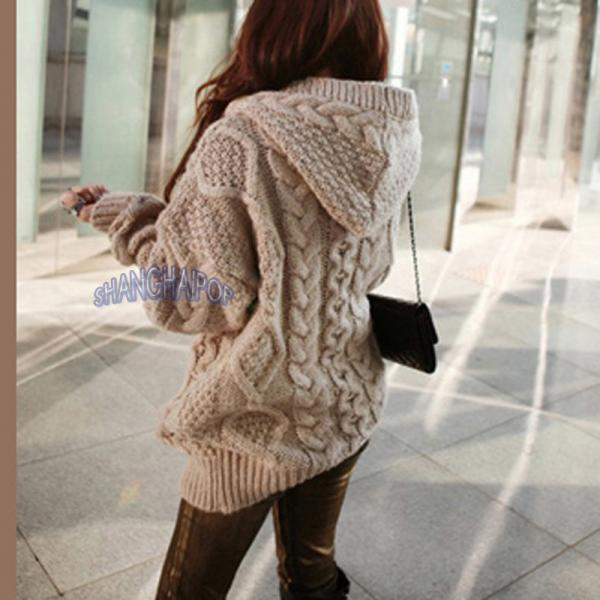 Hooded Cardigan Cable Knit Chunky Jumper Long Sleeve Braid Hoodie ...