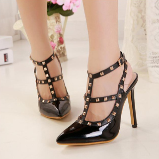 Fashion Women Girls Stud Embellished Buckle Strap Stiletto Heel Pumps - $33.35