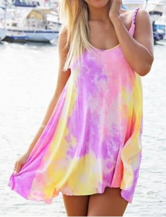 dress pink yellow neon summer beach rainbow fashion style tie dye purple colorful outfit