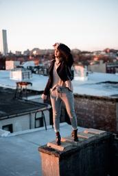 little mai sunshine,blogger,jacket,sweater,pants,shoes,winter outfits,biker jacket,ankle boots