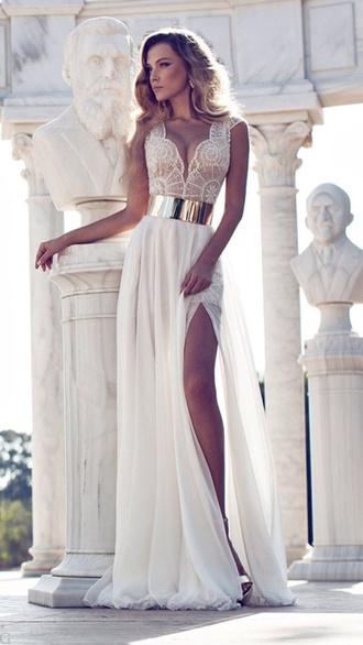 white dress prom dress wedding dress gold white lace dress ball gown dress sexy dress party outfits pattern plunge v neck