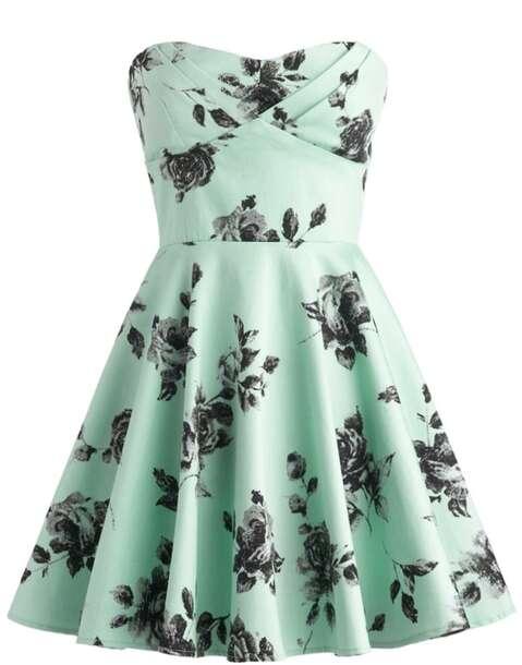 Dress Vintage Roses Black Roses Mint Dress Floral Girl Green