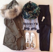 grey t-shirt,t-shirt,brooklyn,scarf,camouflage,gold,watch,converse,winter jacket,green jacket