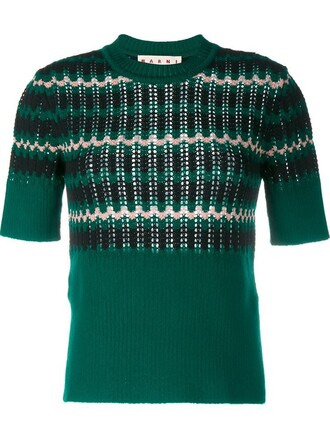top knit short wool green