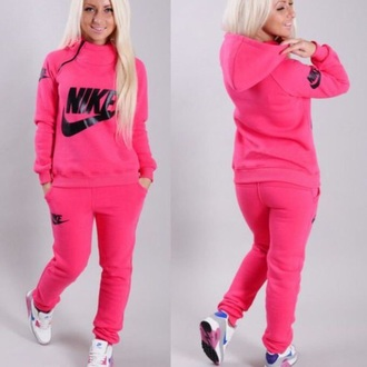 sweater jumpsuit nike clothes sweatsuit set neon pink zip tracksuit joggers winter sweater winter outfits jumper jacket pants sweatpants sportswear style fashion collar outfit