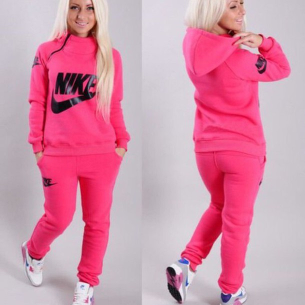 Sweater jumpsuit nike neon pink zip tracksuit joggers winter sweater winter outfits ...