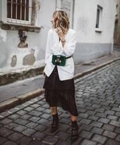 jacket,blazer,white blazer,asymmetrical skirt,striped skirt,ankle boots,belt bag