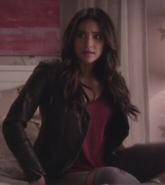 jacket leather moto top emily fields pretty little liars shay mitchell leather jacket