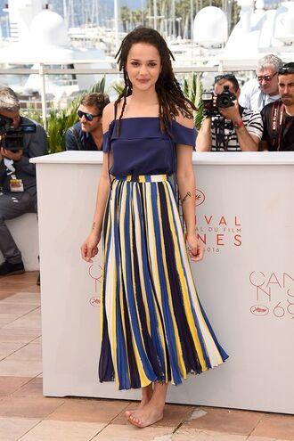 skirt sasha lane celebrity actress striped skirt multicolor maxi skirt high waisted skirt top cut out shoulder blue top ruffled top off the shoulder top summer outfits summer top hairstyles