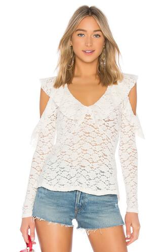 blouse ruffle lace white top