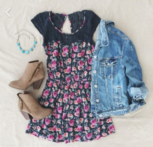 dress flowers denim jacket spring colorful pink floral dress spring dress short sleeve