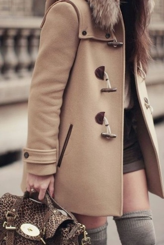 bag jacket coat outerwear duffle coat fur beige coat sandy coat sandy brown beige classic camel coat khaki coat trench coat