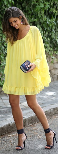 dress yellow flowy spring bright